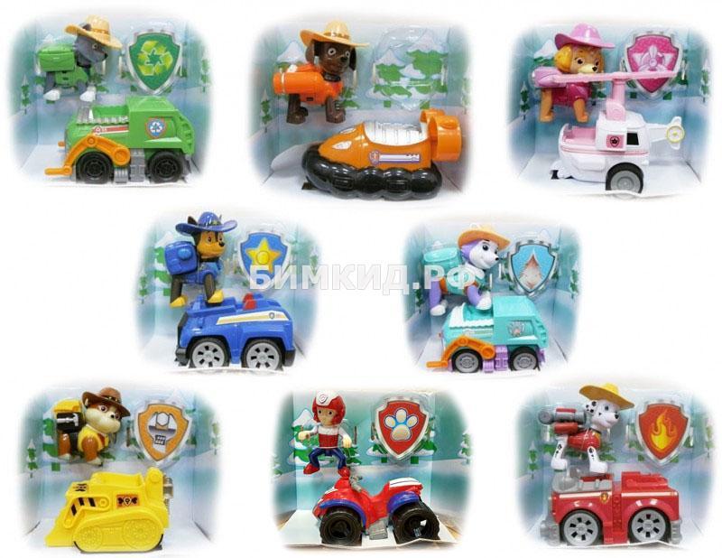 Набор из 8 героев с машинками в ковбойских шляпках Щенячий патруль (Paw Patrol)