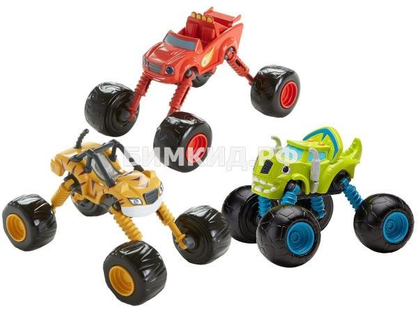 Набор 3 машинки (15 см) с музыкой, светом и раздвижными колесами (Вспыш и чудо-машинки)