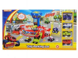 Игровой набор Городская парковка + 4 машинки (Вспыш и Чудо-машинки)