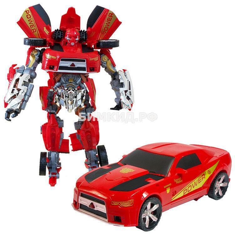 Огромный (38 см) Бамблби, красный робот-трансформер со световыми и звуковыми эффектами