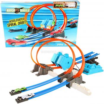 "Трек ""Спринт на Спиралях - Spiral Sprint"" + 2 машинки + ускоритель на батарейках"