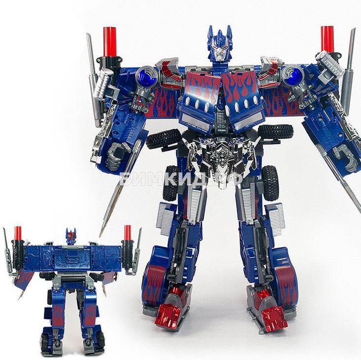Огромный (38 см) Оптимус Прайм, робот-трансформер со световыми и звуковыми эффектами
