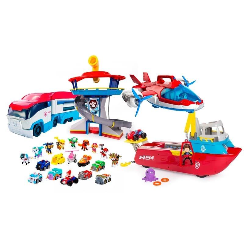 Супер-набор 10 щенков спасателей Щенячий Патруль + Автовоз + Патрулелет (Самолет)+Офис (База спасателей)+Корабль