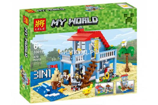 """Конструктор Lele Minecraft """"Дом у озера"""" 33019 арт. 33190 470 дет."""