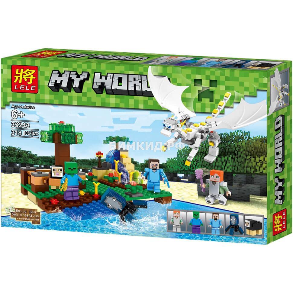 Конструктор Lele Minecraft «Нападение Белого Дракона» 318 дет. арт. 3324333