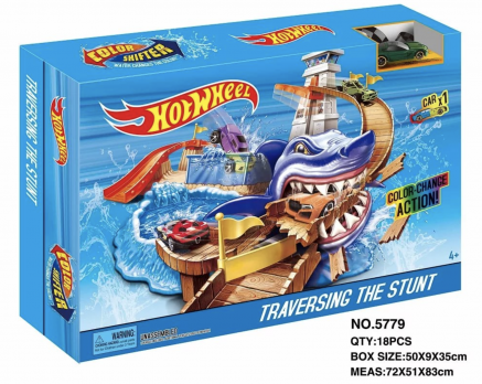 """Набор """"Большая Автомойка с акулой"""" Racing Color Shifter Cuttlefish Fichting (Hot Wheels)"""