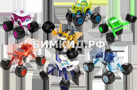 Набор 7 машинок (15 см) с музыкой, светом и раздвижными колесами (Вспыш и чудо-машинки)