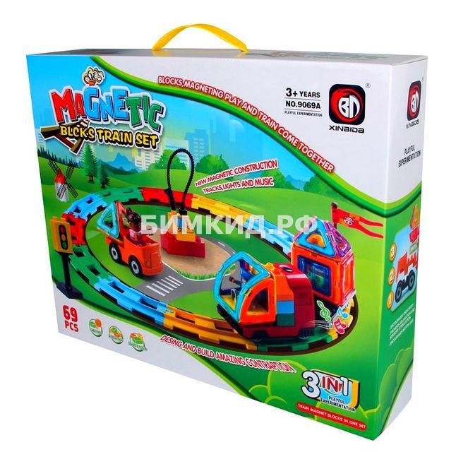69 дет. Магнитный конструктор Железная дорога, Magnetic Blocks