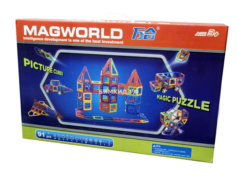 91 дет. Магнитный конструктор, MagWorld
