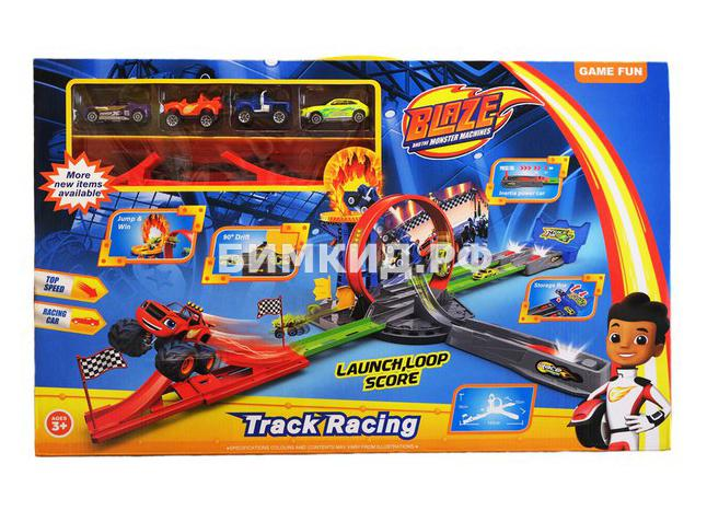 Трек Супер трамплин + 4 машинки (Вспыш и чудо машинки  Blaze)