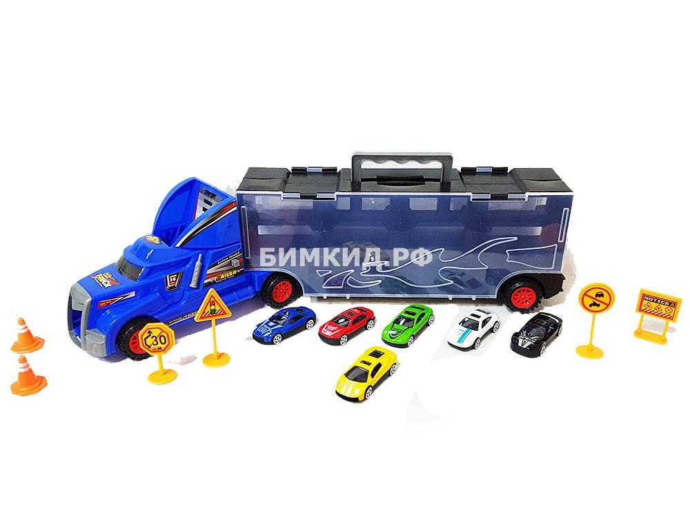 Малый Трейлер + 6 машинок и дорожные знаки (Хот Вилс  Hot Wheels)