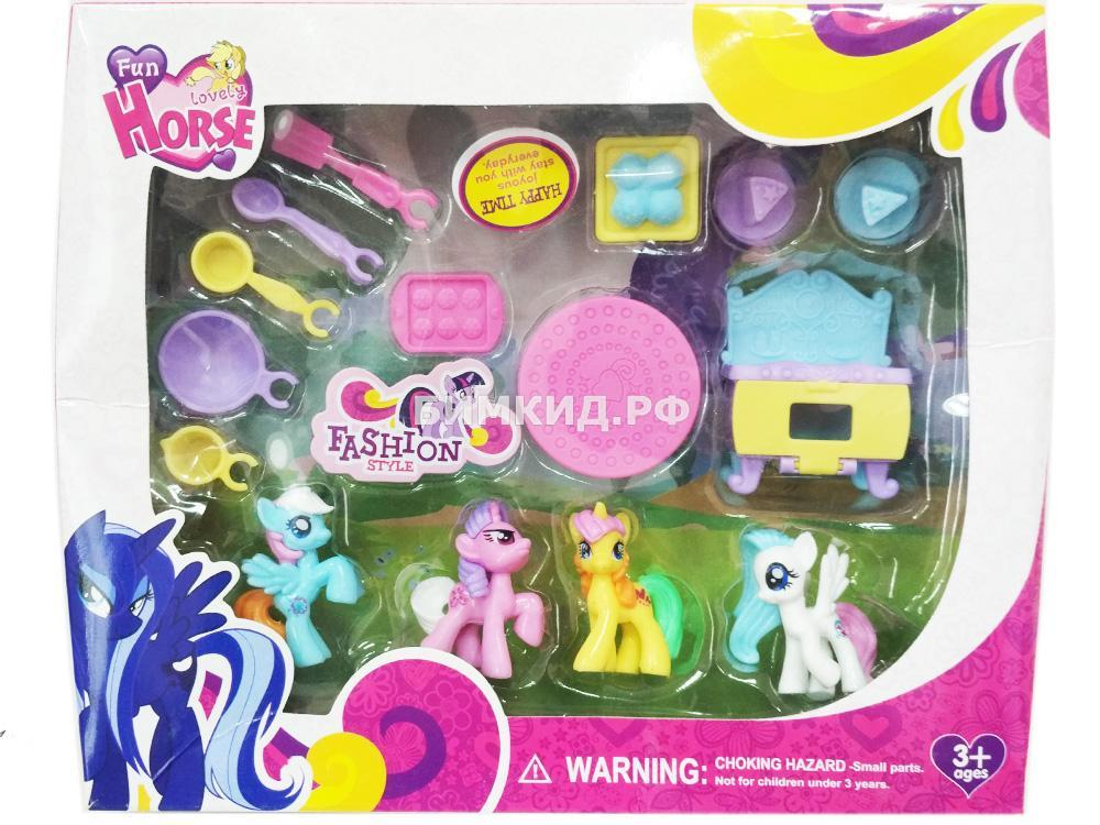 Набор 4 Пони на кухне + аксессуары (My Lovely Horse)