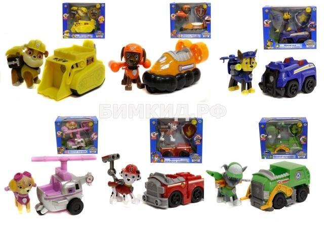 Набор из 6 главных героев с машинками Щенячий Патруль (Paw Patrol)