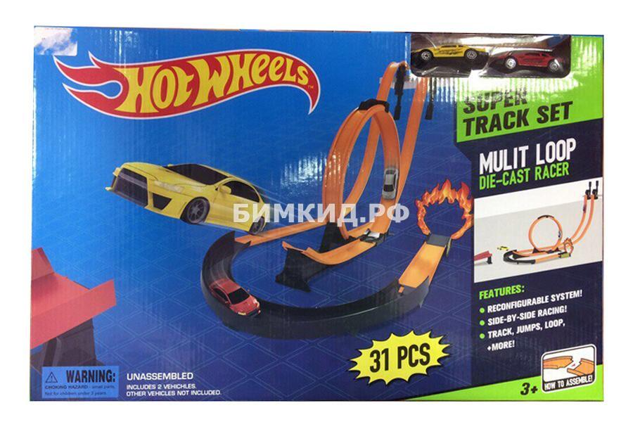 """Трек """"Супер-гонщик"""" с 2 спусками + кольцо + 2 машинки Хот вилс (Hot Wheels)"""