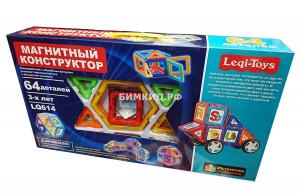 64 дет. Магнитный конструктор Leqi Toys