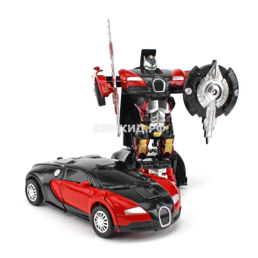 Робот-машина черная бугатти (сборка в 1 движение) Трансформеры